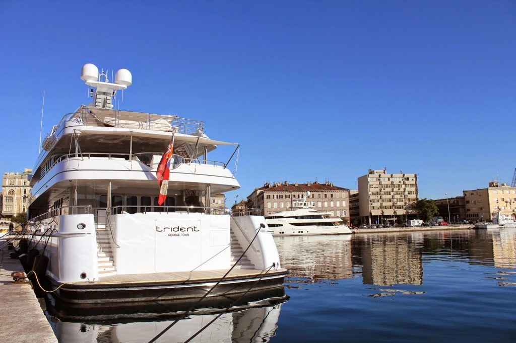 Croatian super yachts in town of Rijeka, North Croatia