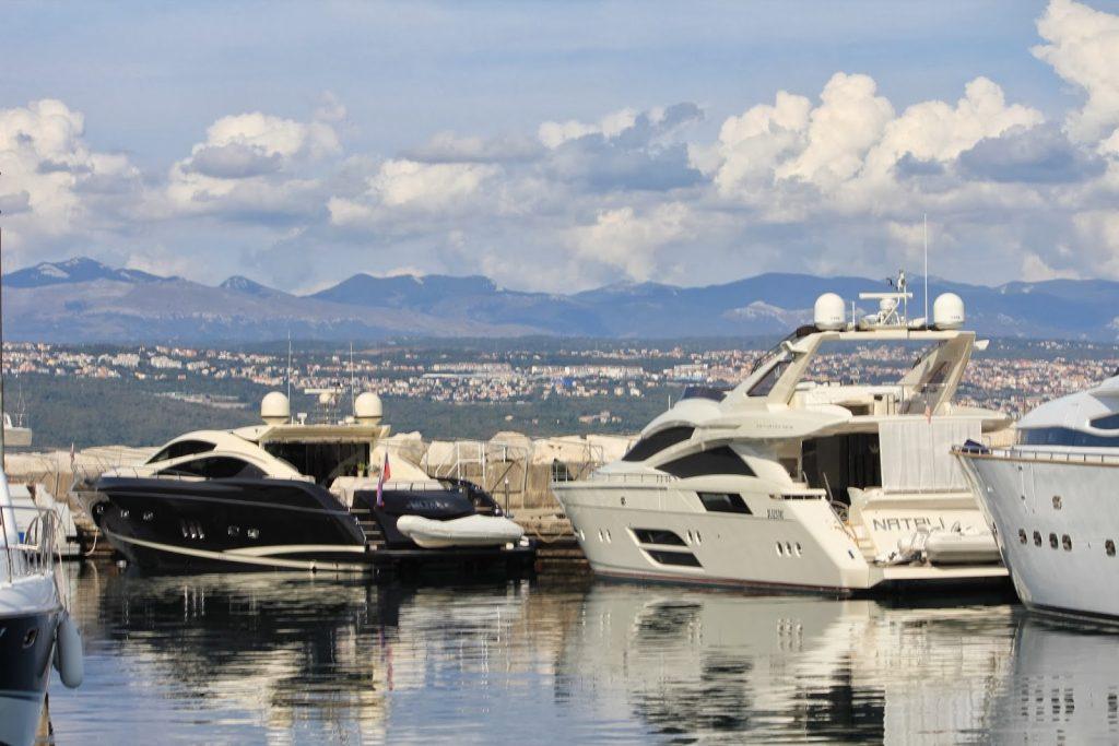 Mega charter yachts moored in Marina Icici, in Opatija, Croatia