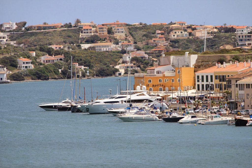 Luxury Yachts moored in Mahon, Menorca in the Balearics