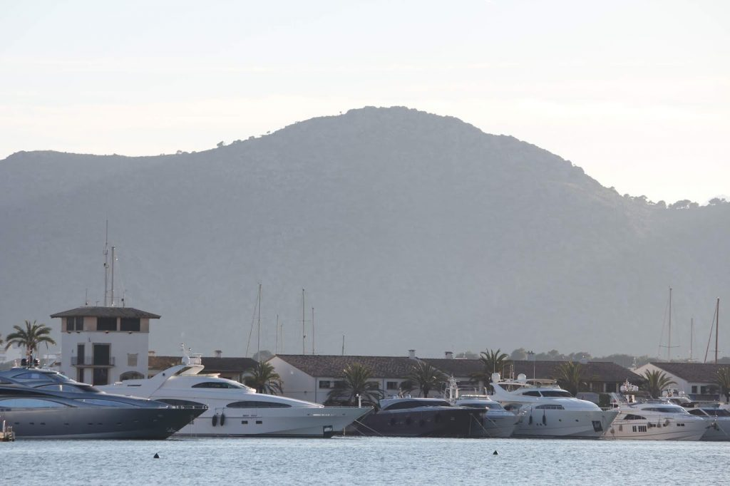Busy port of Alcudia on North Eastern shores of Mallorca