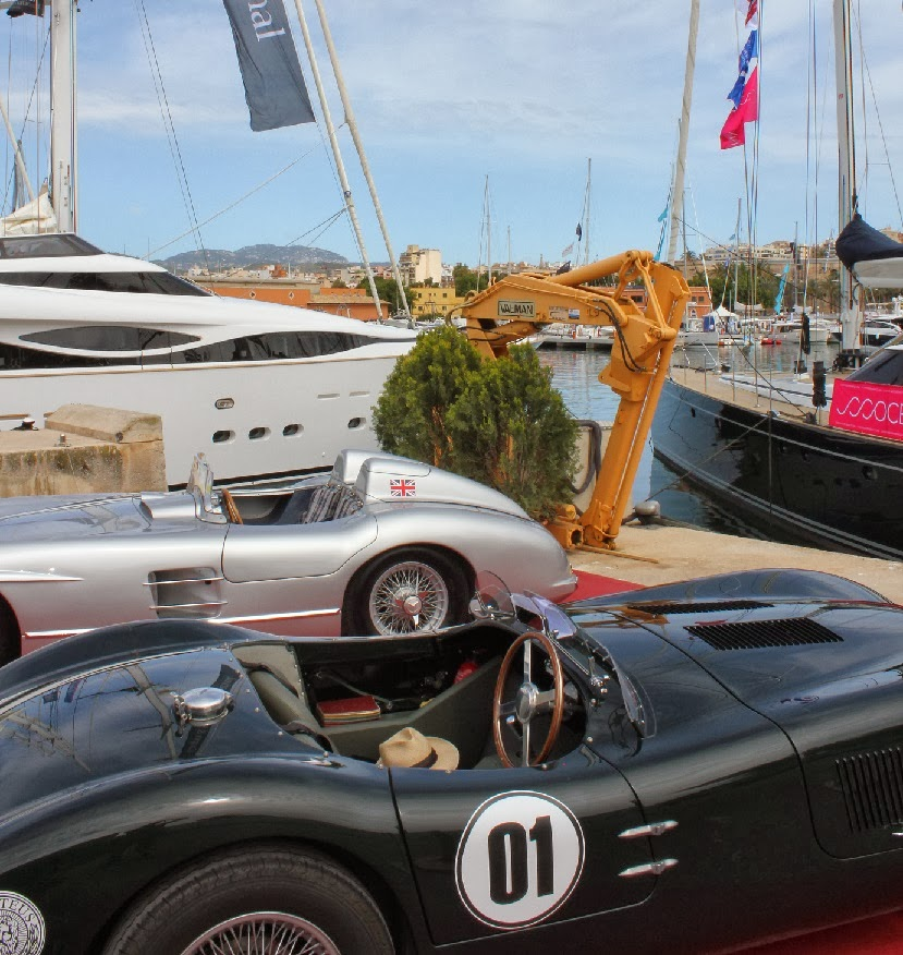 Super cars on display at a private motor yacht show in Spain