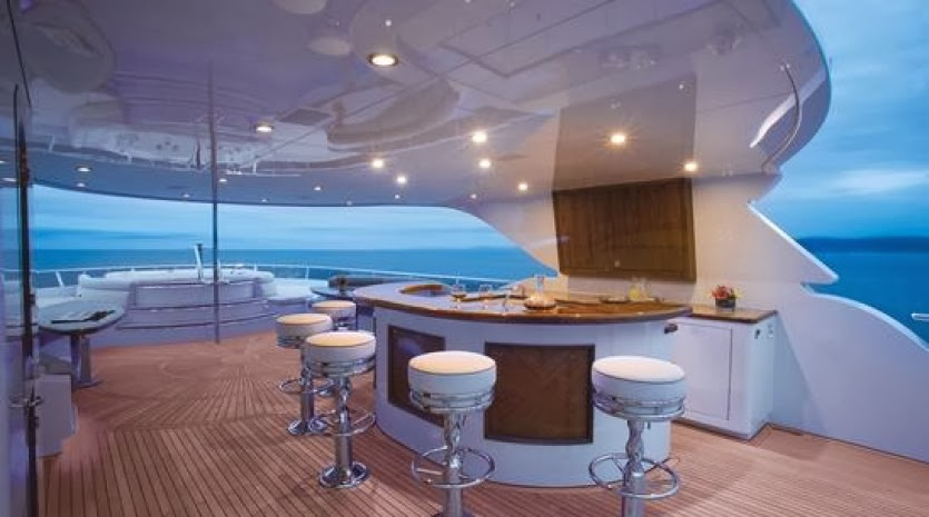 Flybridge on board of 45m luxury Super Yacht Excellence