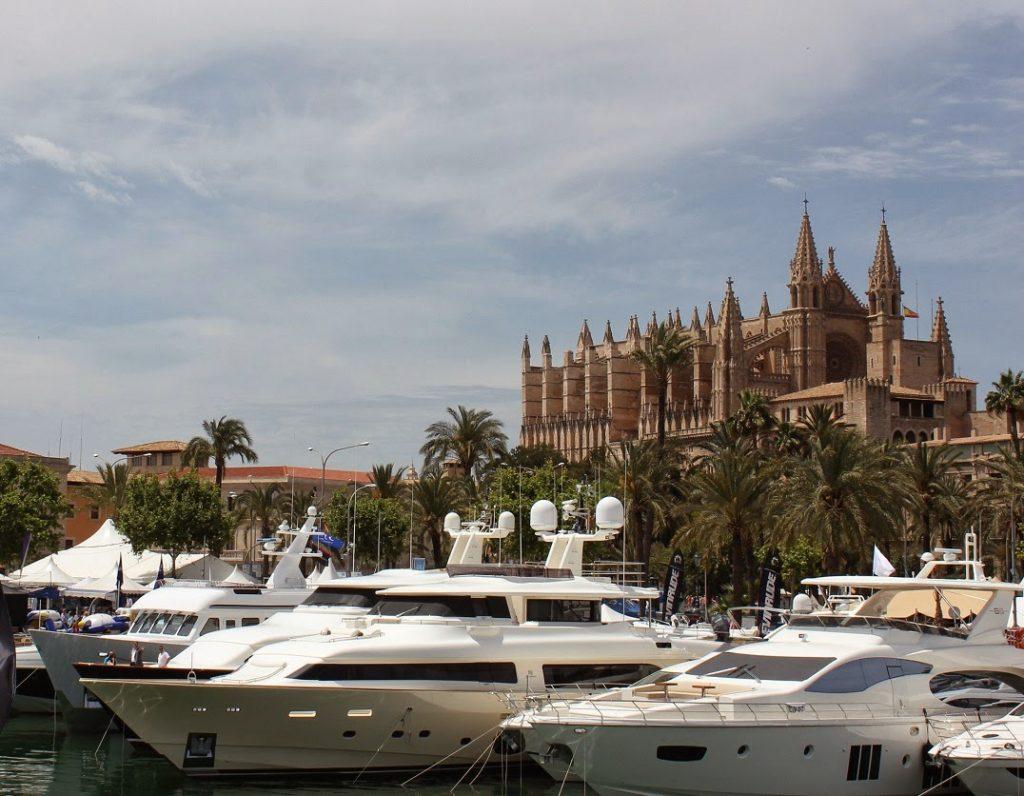 Vertically flipped view of Super Yacht Marina in Palma de Mallorca